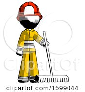 Ink Firefighter Fireman Man Standing With Industrial Broom