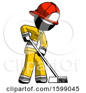 Ink Firefighter Fireman Man Cleaning Services Janitor Sweeping Side View