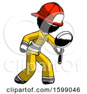 Ink Firefighter Fireman Man Inspecting With Large Magnifying Glass Right