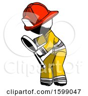 Ink Firefighter Fireman Man Inspecting With Large Magnifying Glass Left