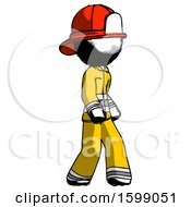 Ink Firefighter Fireman Man Walking Turned Right Front View