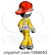 Ink Firefighter Fireman Man Walking Away Direction Right View