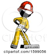 Ink Firefighter Fireman Man Cleaning Services Janitor Sweeping Floor With Push Broom