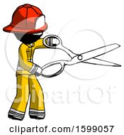 Ink Firefighter Fireman Man Holding Giant Scissors Cutting Out Something