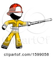 Ink Firefighter Fireman Man Bo Staff Pointing Right Kung Fu Pose