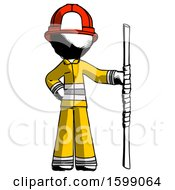 Ink Firefighter Fireman Man Holding Staff Or Bo Staff
