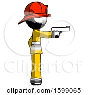 Ink Firefighter Fireman Man Firing A Handgun