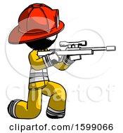 Ink Firefighter Fireman Man Kneeling Shooting Sniper Rifle
