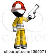 Ink Firefighter Fireman Man Holding Handgun
