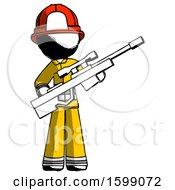 Ink Firefighter Fireman Man Holding Sniper Rifle Gun