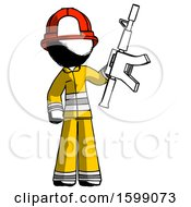 Ink Firefighter Fireman Man Holding Automatic Gun