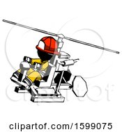 Ink Firefighter Fireman Man Flying In Gyrocopter Front Side Angle Top View