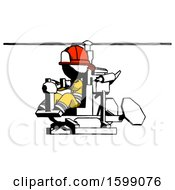 Ink Firefighter Fireman Man Flying In Gyrocopter Front Side Angle View
