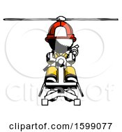 Ink Firefighter Fireman Man Flying In Gyrocopter Front View