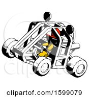 Ink Firefighter Fireman Man Riding Sports Buggy Side Top Angle View