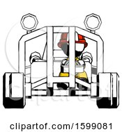 Ink Firefighter Fireman Man Riding Sports Buggy Front View