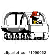 Ink Firefighter Fireman Man Driving Amphibious Tracked Vehicle Side Angle View