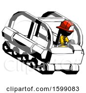 Ink Firefighter Fireman Man Driving Amphibious Tracked Vehicle Top Angle View