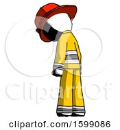 Ink Firefighter Fireman Man Depressed With Head Down Back To Viewer Left