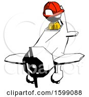 Ink Firefighter Fireman Man In Geebee Stunt Plane Descending Front Angle View