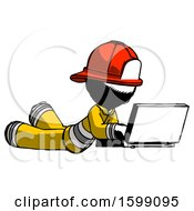 Ink Firefighter Fireman Man Using Laptop Computer While Lying On Floor Side Angled View
