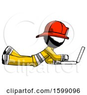 Ink Firefighter Fireman Man Using Laptop Computer While Lying On Floor Side View