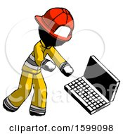 Ink Firefighter Fireman Man Throwing Laptop Computer In Frustration