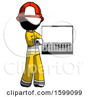 Ink Firefighter Fireman Man Holding Laptop Computer Presenting Something On Screen