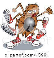 Cool Spider Wearing Sneakers Dancing Clipart Illustration