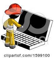 Ink Firefighter Fireman Man Using Large Laptop Computer
