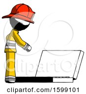 Ink Firefighter Fireman Man Using Large Laptop Computer Side Orthographic View