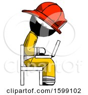 Ink Firefighter Fireman Man Using Laptop Computer While Sitting In Chair View From Side
