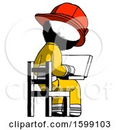 Ink Firefighter Fireman Man Using Laptop Computer While Sitting In Chair View From Back
