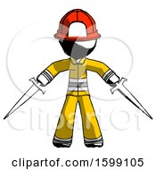 Ink Firefighter Fireman Man Two Sword Defense Pose