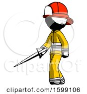 Ink Firefighter Fireman Man With Sword Walking Confidently