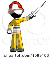 Ink Firefighter Fireman Man Holding Sword In The Air Victoriously