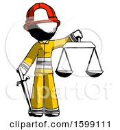 Ink Firefighter Fireman Man Justice Concept With Scales And Sword Justicia Derived