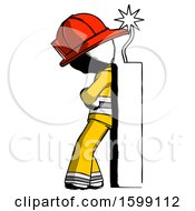 Ink Firefighter Fireman Man Leaning Against Dynimate Large Stick Ready To Blow