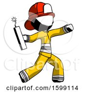 Ink Firefighter Fireman Man Throwing Dynamite