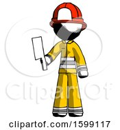 Ink Firefighter Fireman Man Holding Meat Cleaver