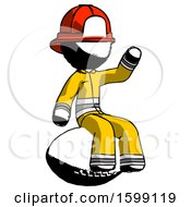 Ink Firefighter Fireman Man Sitting On Giant Football