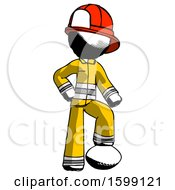 Ink Firefighter Fireman Man Standing With Foot On Football