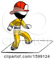 Ink Firefighter Fireman Man On Postage Envelope Surfing