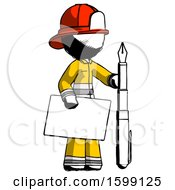 Ink Firefighter Fireman Man Holding Large Envelope And Calligraphy Pen