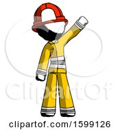 Ink Firefighter Fireman Man Waving Emphatically With Left Arm