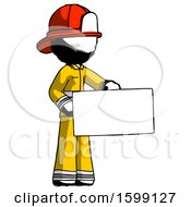 Ink Firefighter Fireman Man Presenting Large Envelope