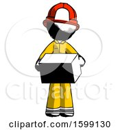 Ink Firefighter Fireman Man Holding Box Sent Or Arriving In Mail