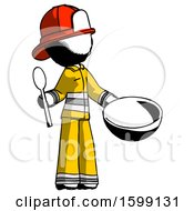 Ink Firefighter Fireman Man With Empty Bowl And Spoon Ready To Make Something