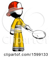 Ink Firefighter Fireman Man Frying Egg In Pan Or Wok Facing Right