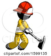 Ink Firefighter Fireman Man Striking With A Red Firefighters Ax